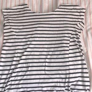 Black and white striped shirt.